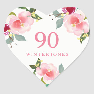 Pretty Pink Floral Watercolor 90th Birthday Party Heart Sticker