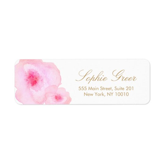 Pretty Pink Floral Watercolor Flower Return Address Label