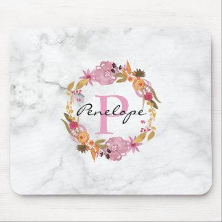 Pretty Pink Floral Wreath Monogram Mouse Mat