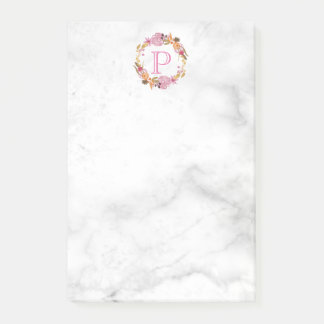 Pretty Pink Floral Wreath Monogram Post-it Notes