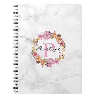 Pretty Pink Floral Wreath Monogram Spiral Notebook