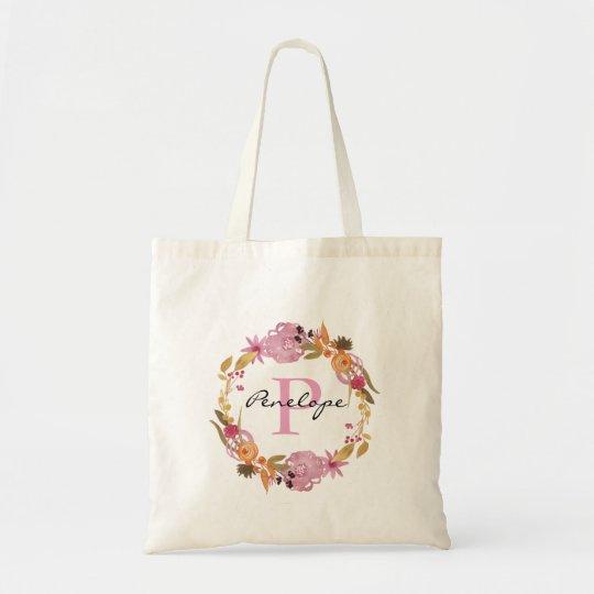 Pretty Pink Floral Wreath Monogram Tote Bag