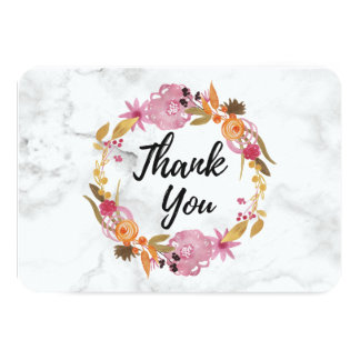 Pretty Pink Floral Wreath Thank You Card
