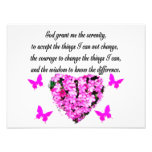 PRETTY PINK FLOWER AND BUTTERFLY SERENITY PRAYER PHOTO ART