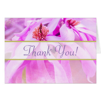 Pretty Pink Flower Blossoms Thank You Note Card