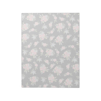 Pretty pink flower pattern on black notepad