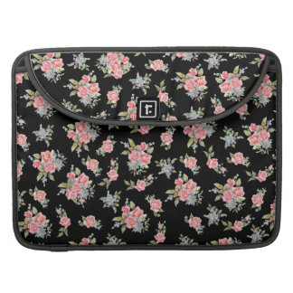 Pretty pink flower pattern on black sleeve for MacBooks