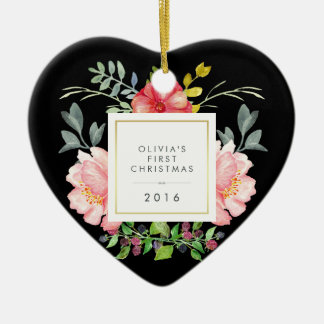 Pretty Pink Flowers Babys First Christmas on Black Christmas Ornament