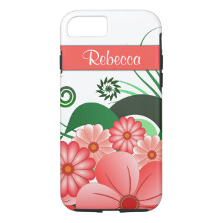 Pretty Pink Flowers Custom Name Hibiscus Floral iPhone 8/7 Case
