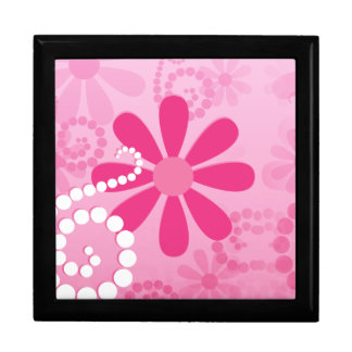 Pretty Pink Flowers Cute Retro Daisy Pattern Gift Box