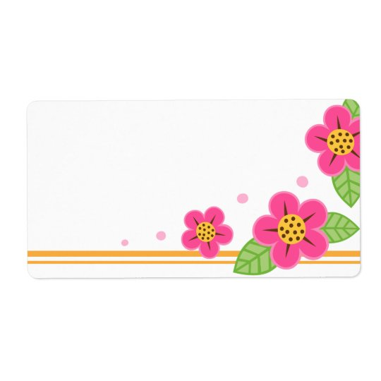 Pretty pink flowers cute spring or summer blank shipping label
