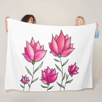 Pretty Pink Flowers Ink Watercolor Art Fleece Blanket