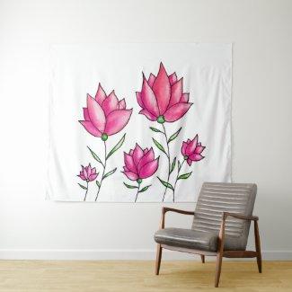 Pretty Pink Flowers Ink Watercolor Art Tapestry