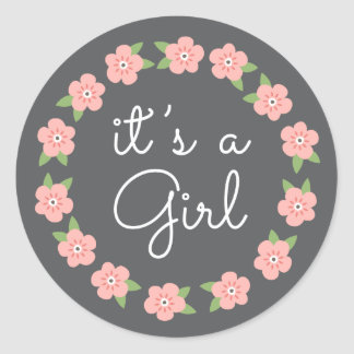 Pretty pink flowers its a girl baby shower stickers
