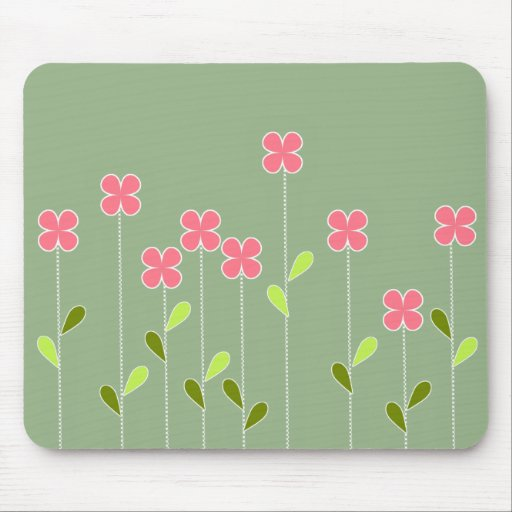 Pretty Pink Flowers Mouse Pads