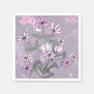 Pretty pink flowers on paper napkins