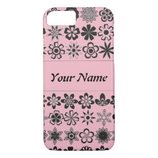 Pretty Pink Flowers Personalize Name Iphone Case