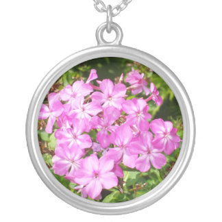 Pretty Pink Flowers Silver Plated Necklace