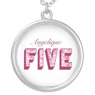 Pretty Pink Flowery Five Birthday Necklace