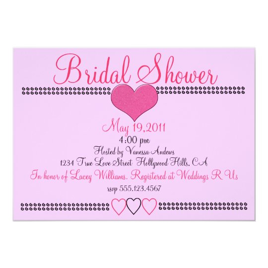 Pretty Pink Formal Bridal Shower Invitation