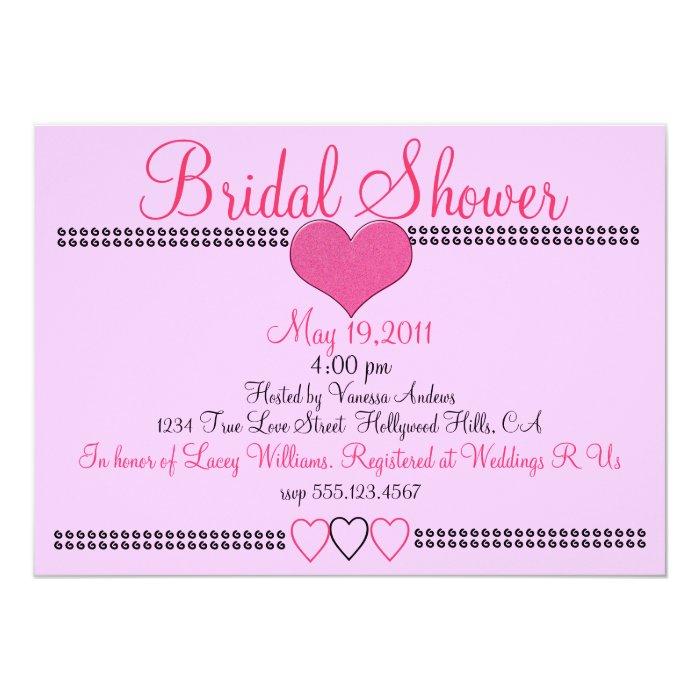 Pretty Pink Formal Bridal Shower Invitation