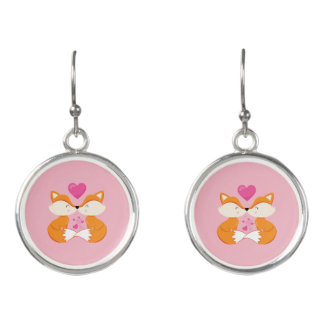 Pretty Pink Foxes Kisses Earrings
