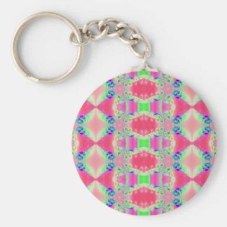 pretty pink fractal basic round button key ring