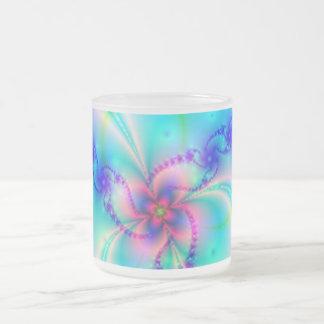 Pretty Pink Fractal Flower Frosted Glass Mug
