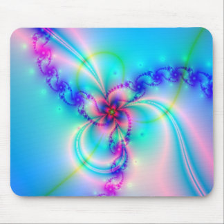 Pretty Pink Fractal Flower Mouse Pad