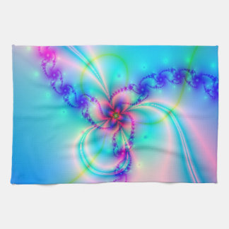 Pretty Pink Fractal Flower Tea Towel