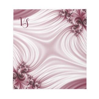 Pretty pink fractal. Silk imitation. Add monogram. Notepad