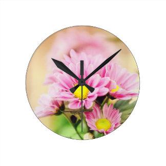Pretty pink garden flowers clocks