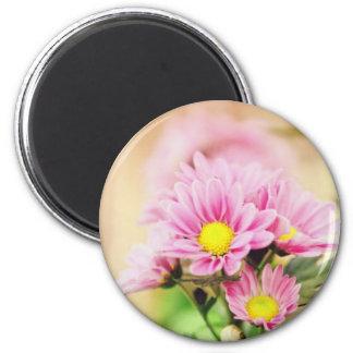 Pretty pink garden flowers refrigerator magnet