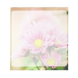 Pretty pink garden flowers note pads