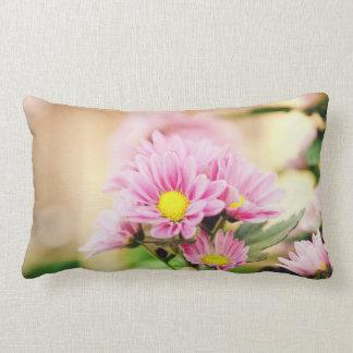 Pretty pink garden flowers throw pillow
