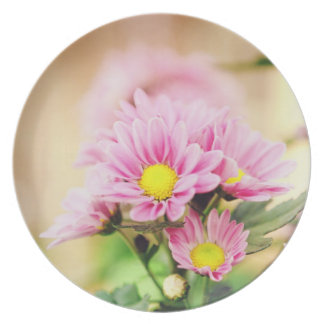 Pretty pink garden flowers party plate