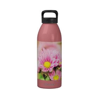 Pretty pink garden flowers water bottles