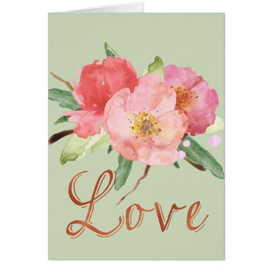 Pretty Pink Garden Flowers Watercolor Love Card