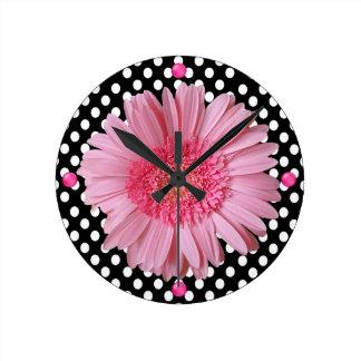 Pretty Pink Gerber Daisy Wall Clock
