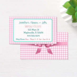 Pretty Pink Gingham & Bow Business Card