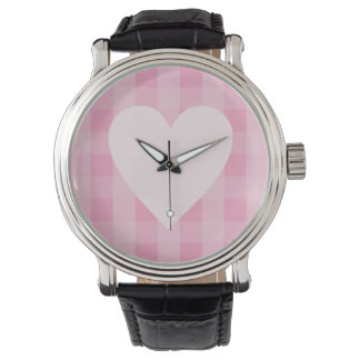Pretty Pink Gingham Heart Watch