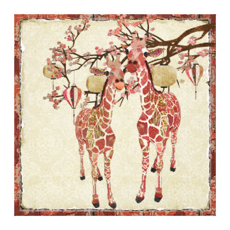 Pretty Pink Giraffes Cherry Blossom Canvas Canvas Print