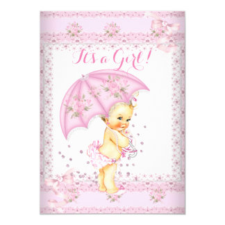 Pretty Pink Girl Baby Shower Floral Umbrella Blond 13 Cm X 18 Cm Invitation Card
