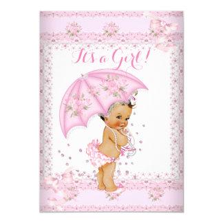 Pretty Pink Girl Baby Shower Floral Umbrella BR 13 Cm X 18 Cm Invitation Card