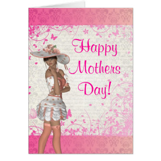 Pretty pink girl romantic mothers day card