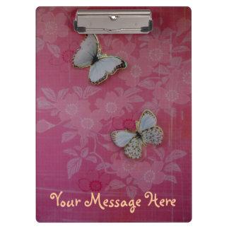 Pretty Pink Girly Butterflies Personalized Clipboard