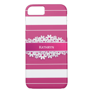 Pretty Pink & Girly w/Daisies iPhone 8/7 Case