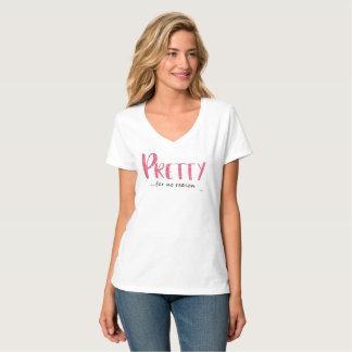 Pretty Pink Glitter and Black V-Neck T-Shirt