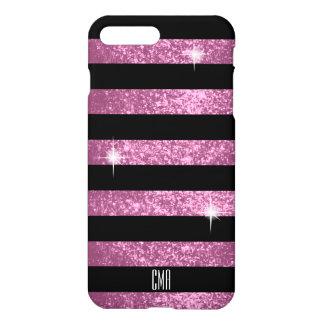 Pretty Pink Glitter & Black Stripes   Monogram iPhone 8 Plus/7 Plus Case