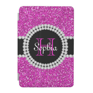 Pretty Pink Glitter Glam Monogram iPad Mini Case iPad Mini Cover